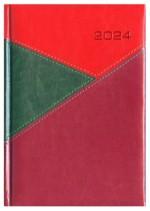 Kalendarz York zielony/czerwony/bordowy